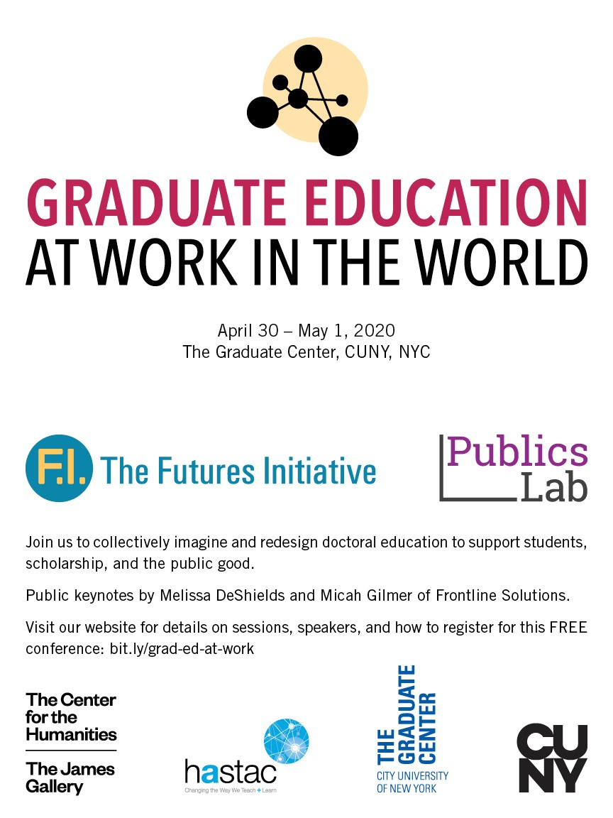 Gradeuate Education at Work in the World logo. Text: April 30-May 1, 2020, The Graduate Center, CUNY, NYC. Logos for the Futures Initiative, PublicsLab, HASTAC, Cetner for the Humanities, Graduate Center, CUNY.