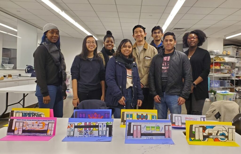 Bronx Museum: Art Workshop. Pictured from left to right, Kashema Hutchinson, Christina Valeros, Jennifer Bortolami, Yoonhwan Cho, Samuel Win, Kevin Torres, Evalaurene Jean Charles