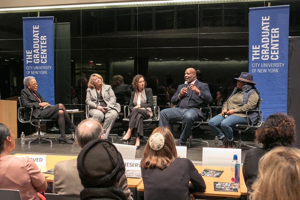 """Racism and Democracy"" event pictured from left to right: Dr. Johnnetta Betsch Cole, Jessie Daniels, Bitta Mostofi, Jelani Cobb, and Mary Hooks"