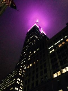 Empire State Building at night, looking up