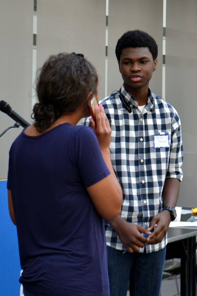 Mentors acting out mentoring scenarios.