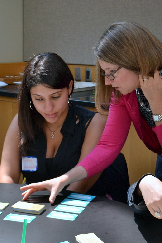 Emily Seamone working with a mentor to determine and record her skills.