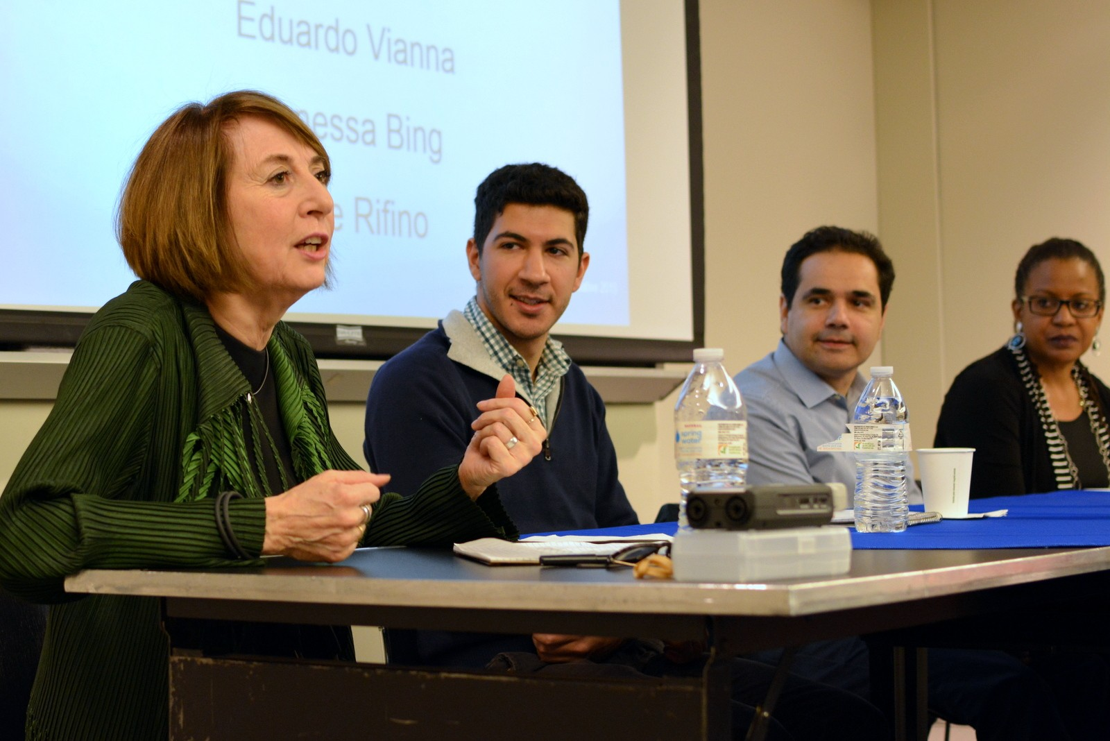 Cathy Davidson with panelists at Teaching the Humanities as a Survival Skill Workshop 10/22/15