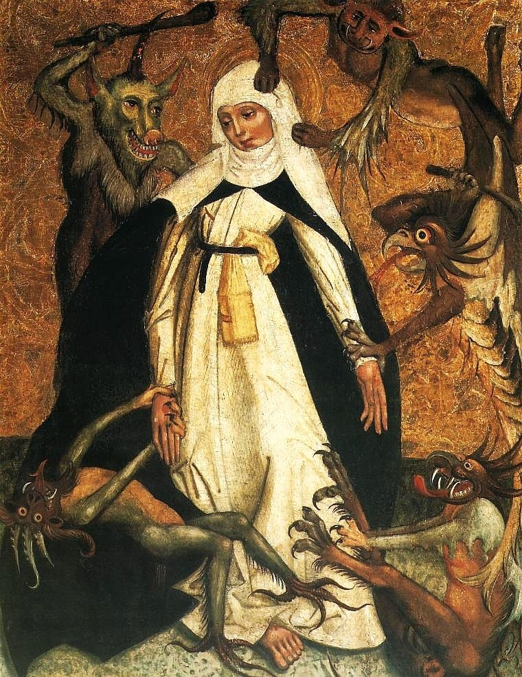 St. Catherine of Siena fending off Internet trolls before it was cool