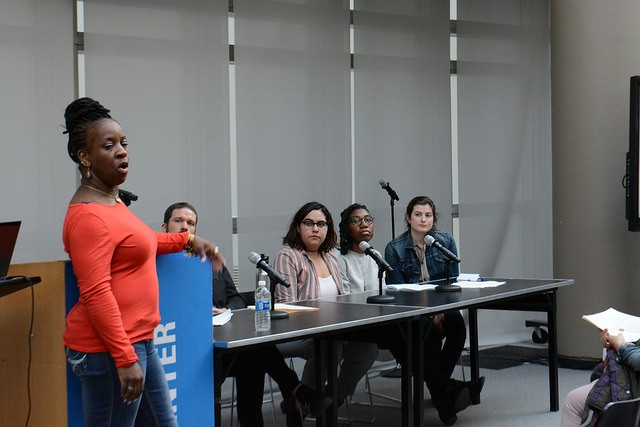 Students in Teaching Race & Gender Theory take questions from the audience