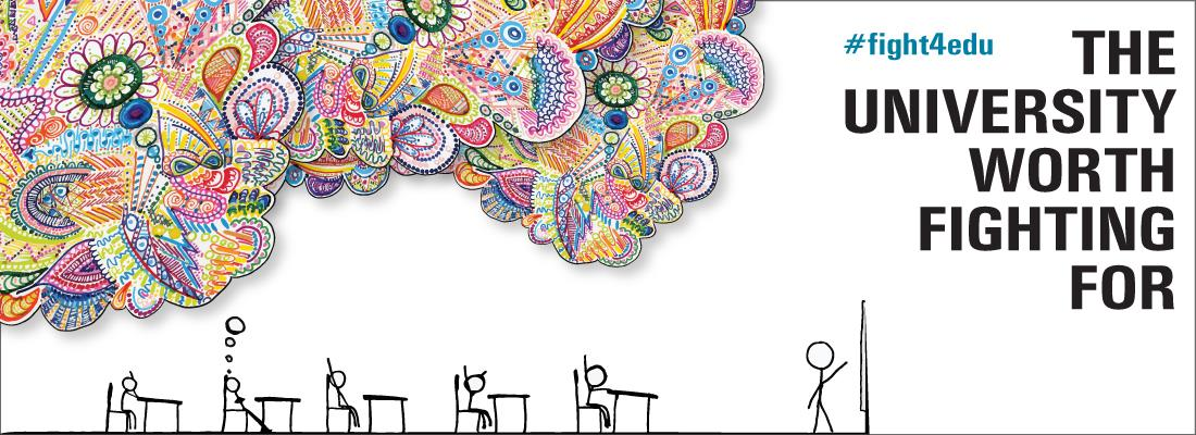 The University Worth Fighting For; Drawing of stick figures in a classroom with a teacher in front of a chalkboard. A student is daydreaming, with colorful swirls and flowers representing being lost in their own thoughts and not paying attention to the lecture.