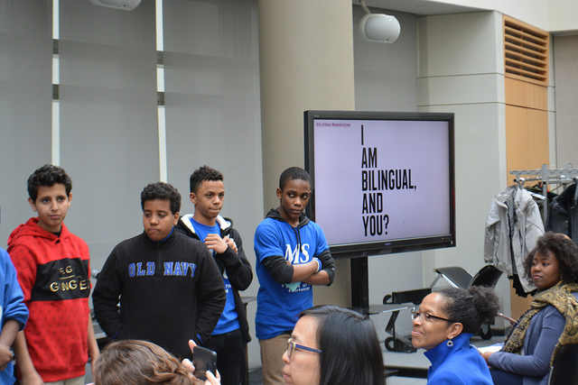Students from MS-50 Perform a multi-lingual song for the Futures Initiative Fall Symposium
