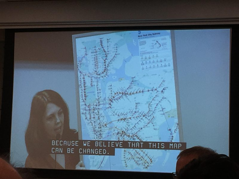 Inaccessible subway map presented to Andy Byford at his first NYCT committee meeting. Red pins are on each station that is not wheelchair accessible, and blue pins mark stations with elevators. Purple pins designate where a station is only accessible in one direction.