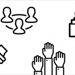 Icons that represent teamwork and learning (a handshake, people raising their hands, two people reading next to one another, a network of three people)