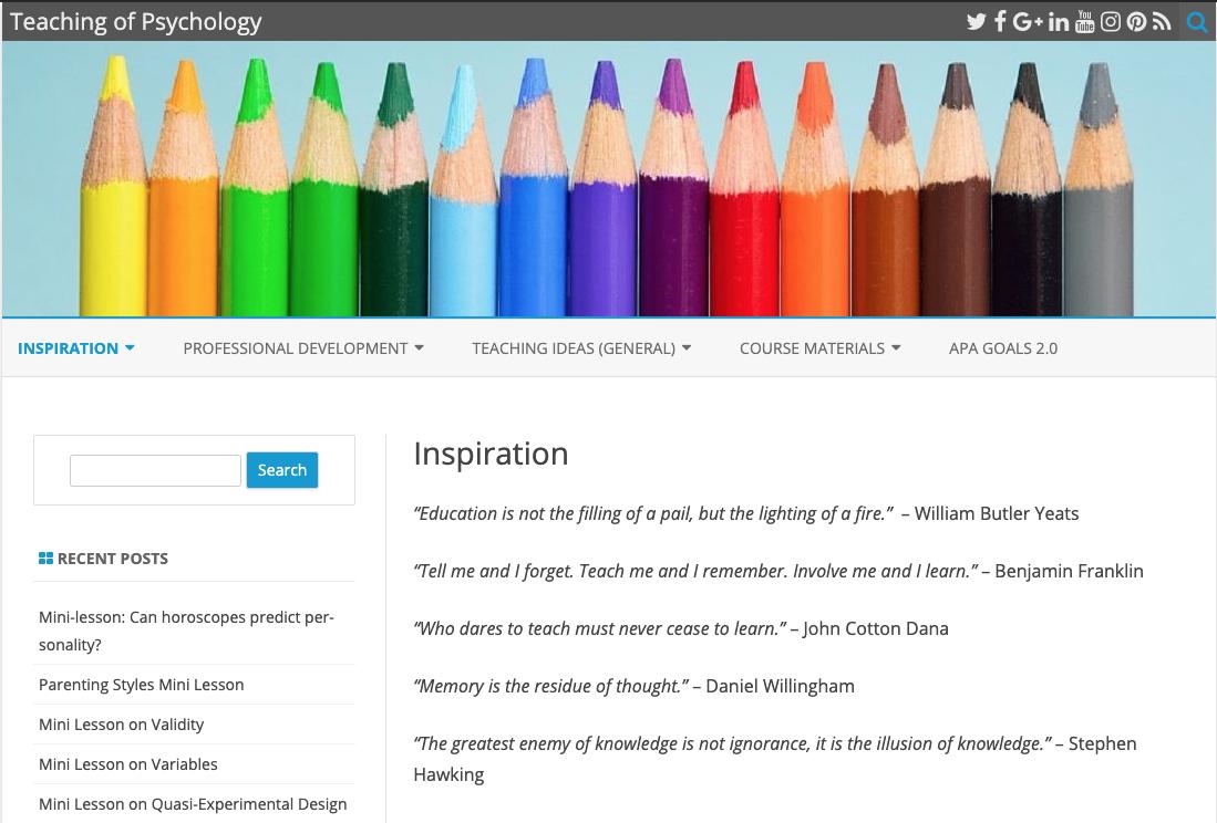 Screenshot of Teaching of Psychology website