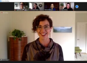 Screenshot of Katina Rogers giving a talk with participants visible as thumbnails
