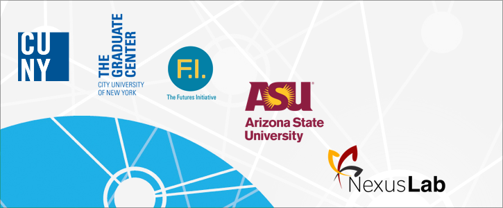 Logos of HASTAC partners ASU and CUNY Graduate Center