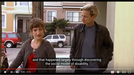A screengrab from a video excerpt of Examined Life with Judith Butler and Sunaura Taylor